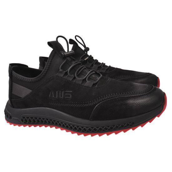 Кросівки чоловічі з текстилю, на низькому ходу, на шнурівці, чорні, Cosottinni