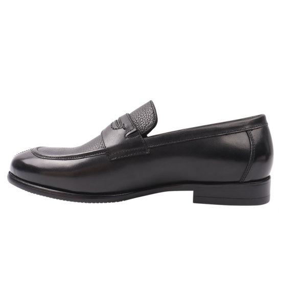 Туфлі лофери чоловічі з натуральної шкіри, на низькому ходу, чорні, Lido Marinozi