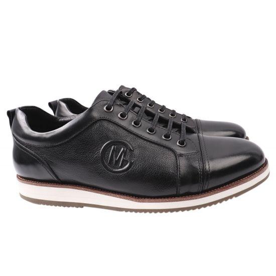 Кеди чоловічі з натуральної шкіри, на низькому ходу, на шнурівці, колір чорний, Lido Marinozi 213-21DTC