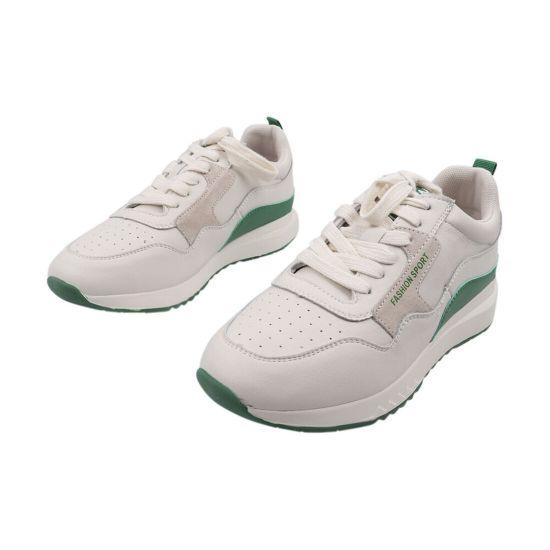 Кросівки жіночі з натуральної шкіри, на низькому ходу, на шнурівці, колір молочний, Farinni