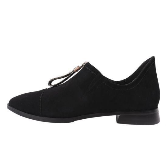 Туфлі жіночі з натуральної замші, на низькому ходу, чорні, Brocoly