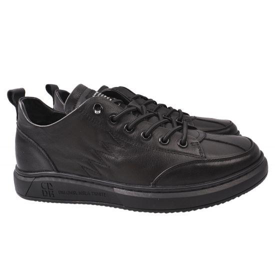 Кросівки чоловічі з натуральної шкіри, на низькому ходу, на шнурівці, чорні, Li Fexpert