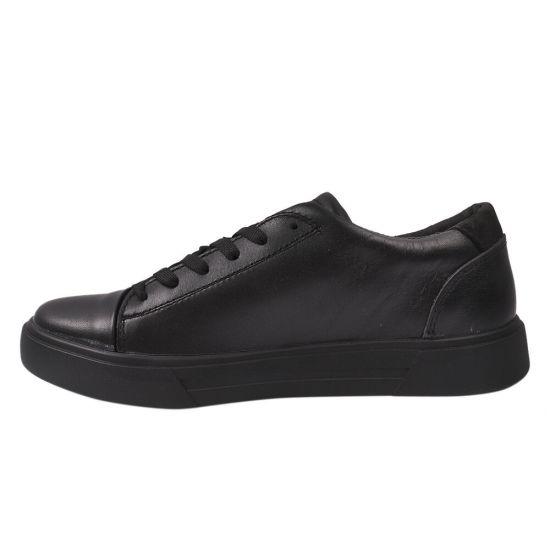 Кеди чоловічі з натуральної шкіри, на низькому ходу, на шнурівці, колір чорний, Україна Konors