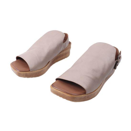Босоніжки жіночі з натуральної шкіри, на низькому ходу, з відкритою п'ятою, колір капучино, Bueno