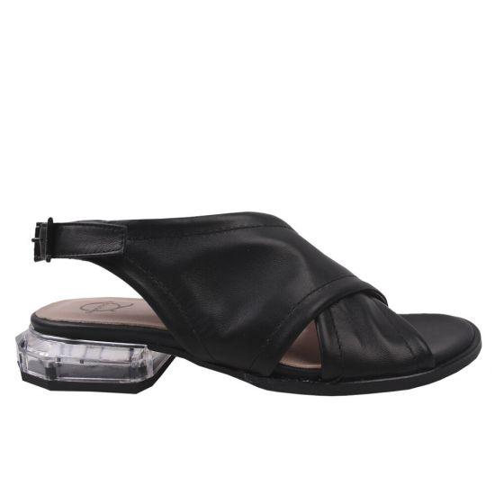 Босоніжки на низькому ходу жіночі Aquamarin натуральна шкіра, колір чорний