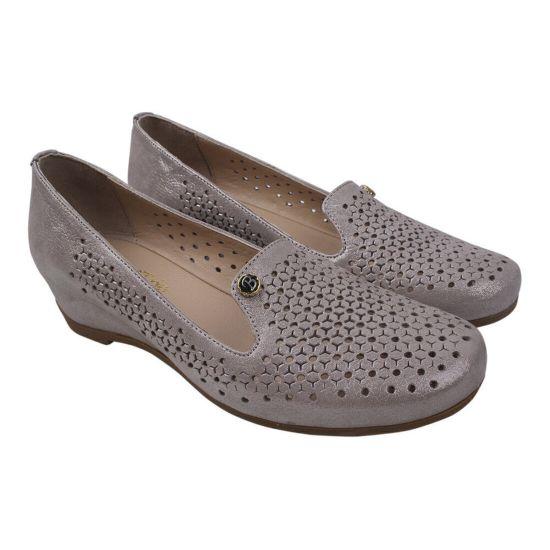 Туфлі жіночі шкіра сатин, колір капучіно