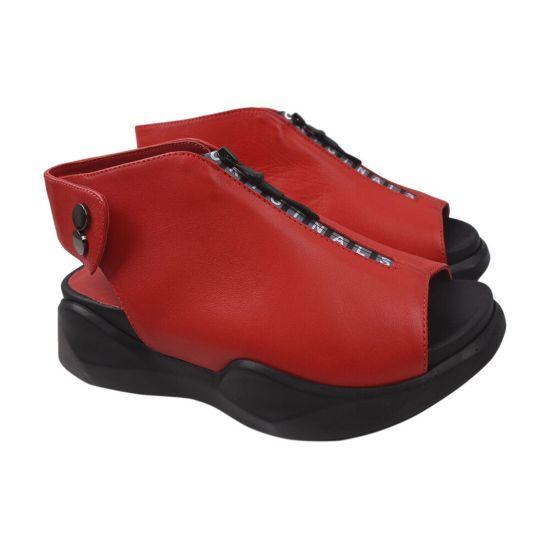 Босоніжки на платформі жіночі Aquamarin натуральна шкіра, колір червоний