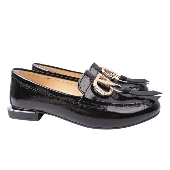 Туфлі жіночі з натуральної лакової шкіри, на низькому ходу, чорні, Туреччина Mario Muzi