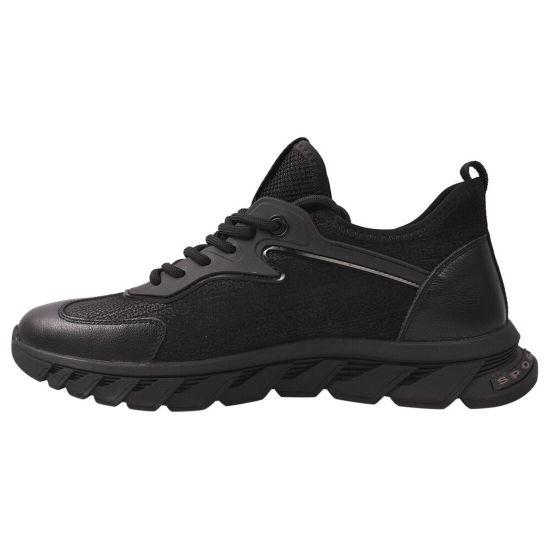 Кросівки чоловічі з натуральної шкіри, на низькому ходу, на шнурівці, чорні, Berisstini
