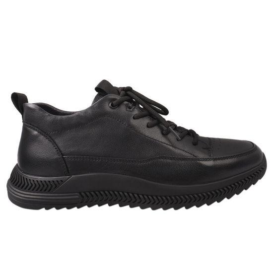 Кросівки чоловічі з натуральної шкіри, на низькому ходу, на шнурівці, колір чорний, Brooman