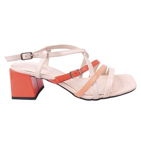 Босоножки женские из натуральной кожи, на большом каблуке, с открытой пятой, оранжевые, Geronea 959-21LB