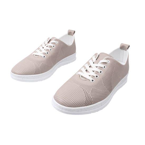 Кеди жіночі з натуральної шкіри, на низькому ходу, на шнурівці, колір капучино, Trio Trend 88-21DTC