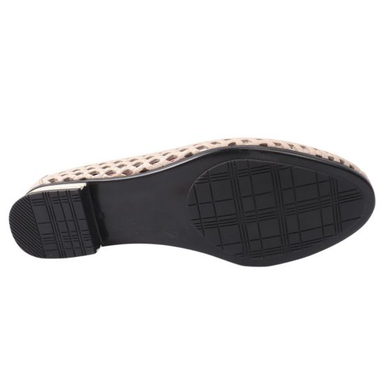 Туфлі жіночі з натуральної шкіри, на низькому ходу, бежеві, Туреччина