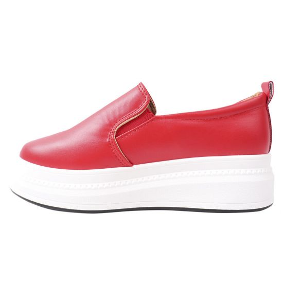 Кеди-Сліпони жіночі з еко шкіри, на платформі, червоні, Fashion