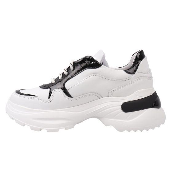 Кросівки жіночі з натуральної шкіри, на низькому ходу, на шнурівці, колір білий, Masheros