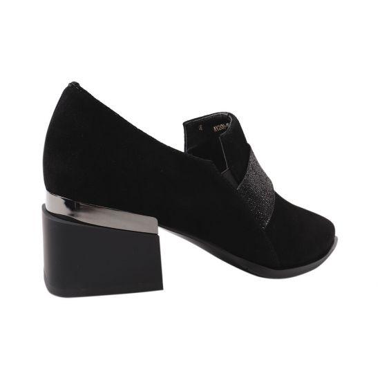 Туфлі жіночі з натуральної замші, на підборах, чорні, Brocoly