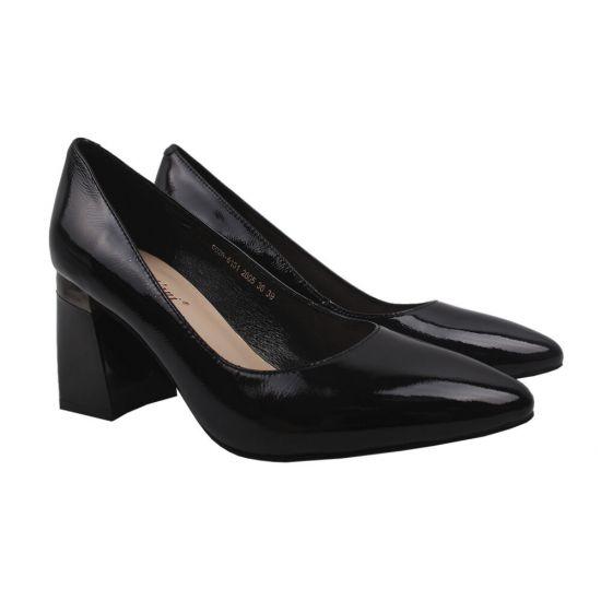 Туфлі жіночі з натуральної шкіри, на великому каблуці, чорний, Angelo Vani