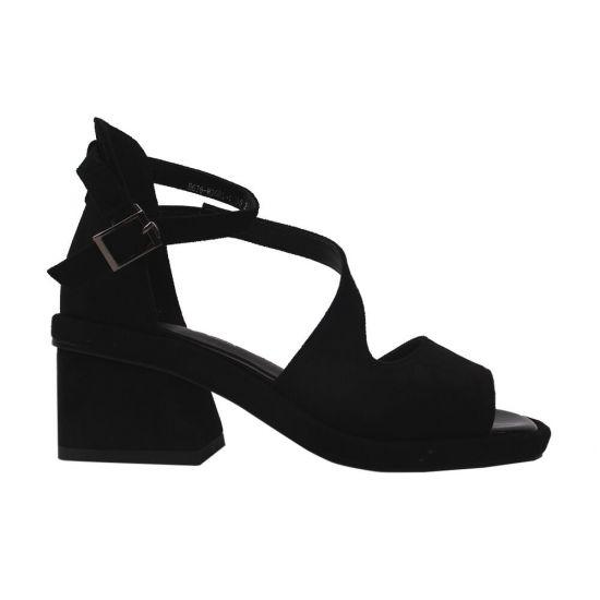 Босоніжки жіночі еко замш, колір чорний