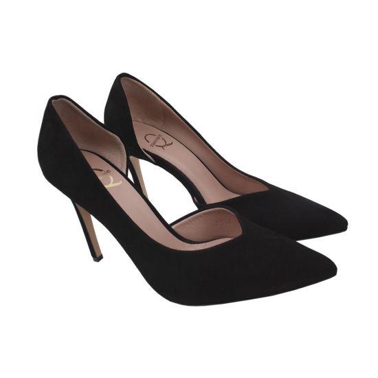 Туфлі жіночі Aquamarin Натуральна замша, колір чорний