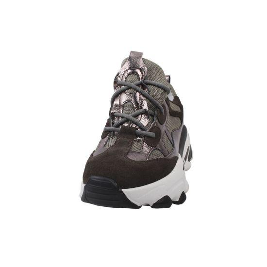 Кросівки жіночі з натуральної замші, на платформі, хакі, Li Fexpert