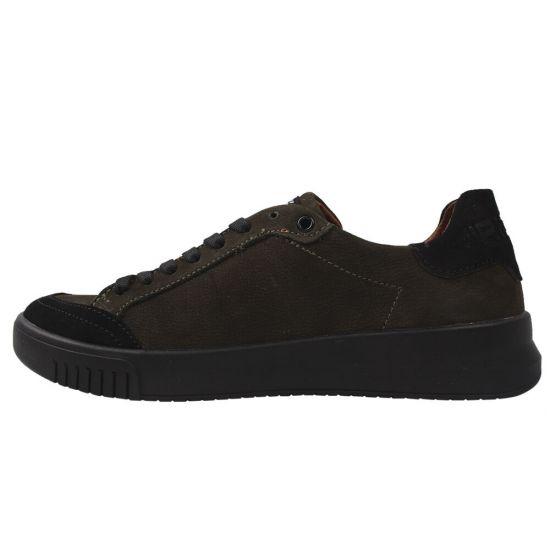 Туфлі спорт чоловічі з натуральної шкіри (нубук), на низькому ходу, хакі, Konors