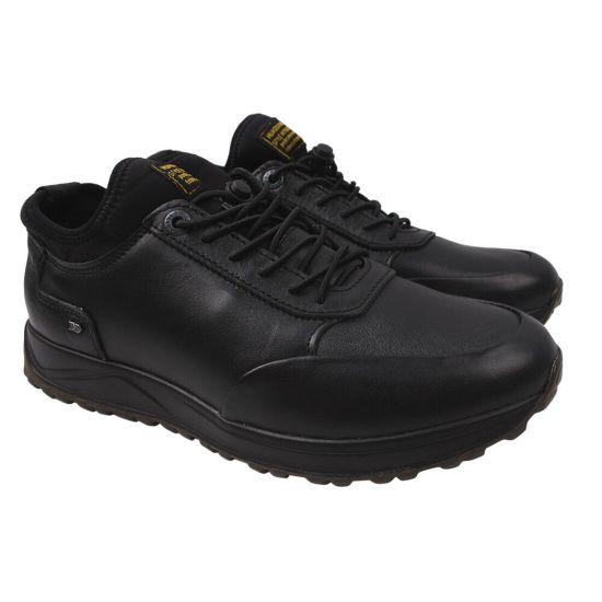 Туфлі спорт чоловічі з натуральної шкіри, на низькому ходу, чорні, Konors