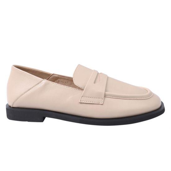 Туфлі жіночі з натуральної шкіри, на низькому ходу, бежеві, Berkonty