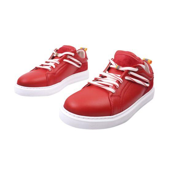 Кеди жіночі з натуральної шкіри, на низькому ходу, на шнурівці, червоні, Туреччина Phany