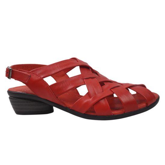 Босоніжки на низькому ходу жіночі Mario Muzi натуральна шкіра, колір червоний