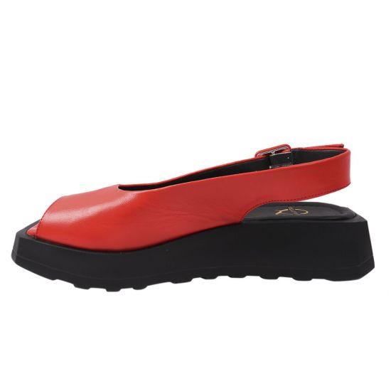 Босоніжки жіночі з натуральної шкіри, на платформі, з відкритою п'ятою, колір червоний, Aquamari