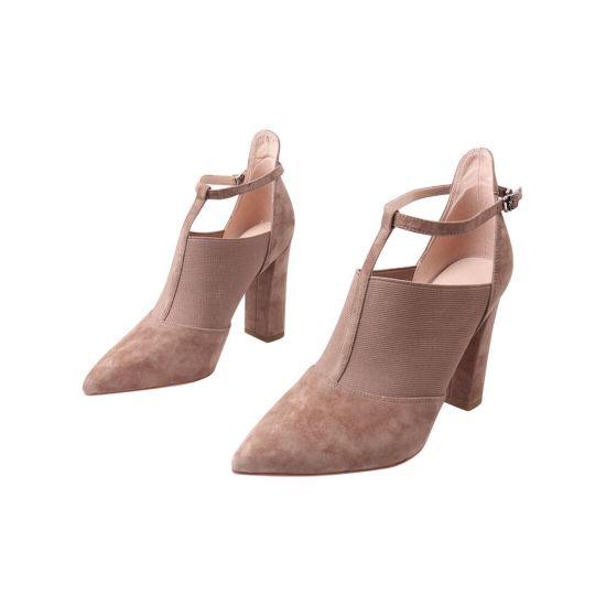 Туфлі жіночі з натуральної замші, на великому каблуці, колір капучино, Anemone