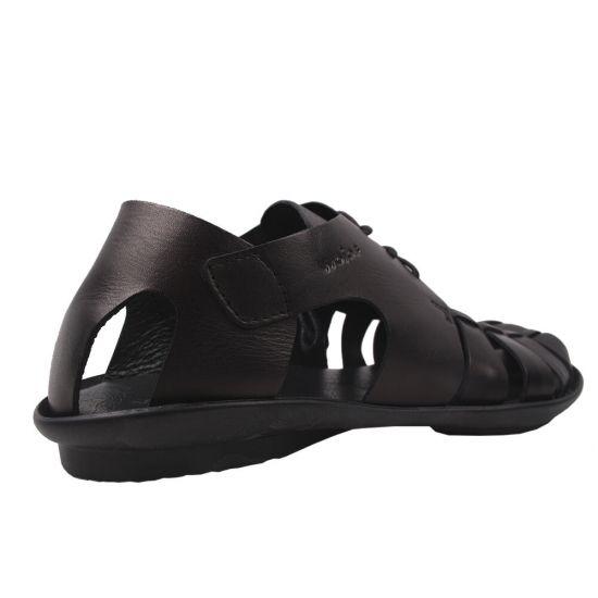 Босоніжки на низькому ходу чоловічі Wojas натуральна шкіра, колір чорний