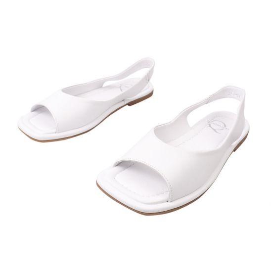 Босоніжки жіночі з натуральної шкіри, на низькому ходу, з відкритою п'ятою, колір білий, Aquamarin