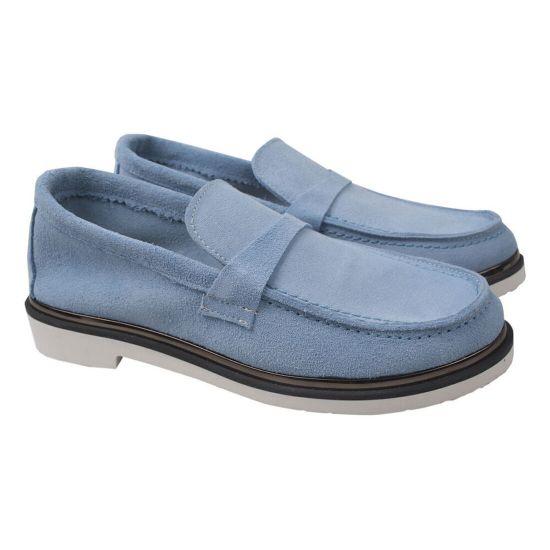 Туфлі жіночі Натуральна замша, колір блакитний