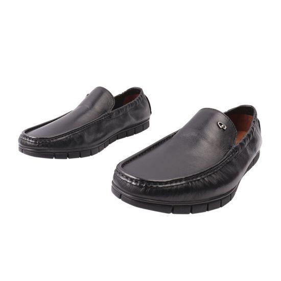 Туфлі чоловічі з натуральної шкіри, на низькому ходу, чорні, Lido Marinozi