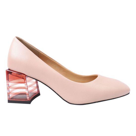 Туфлі жіночі з еко шкіри, на великому каблуці, рожеві, Oeego
