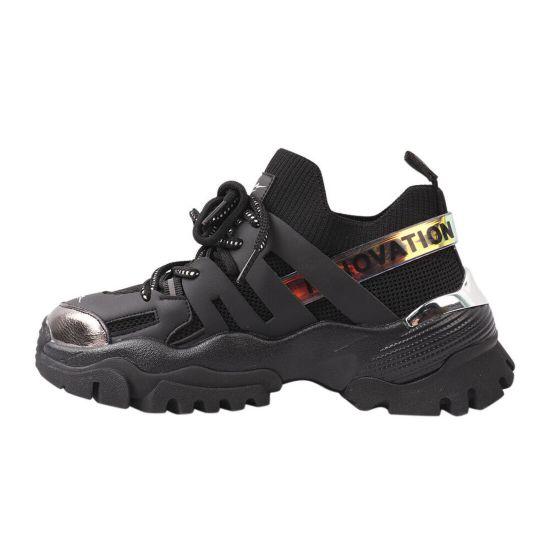 Кросівки жіночі з текстилю, на платформі, на шнурівці, чорні, Gifanni