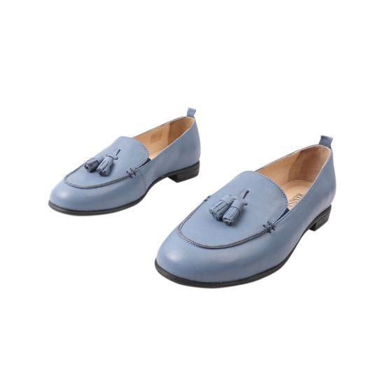 Туфлі жіночі з натуральної шкіри, на низькому ходу, колір синій, Туреччина Molly Bessa